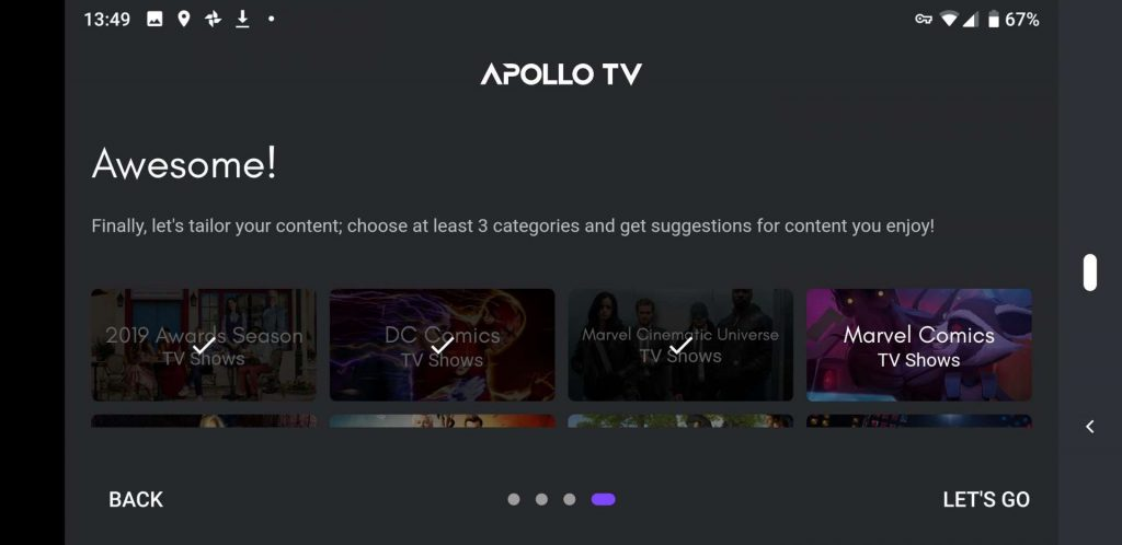 Choose Apollo TV categories