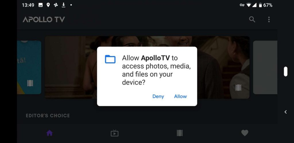 Apollo TV Android permissions