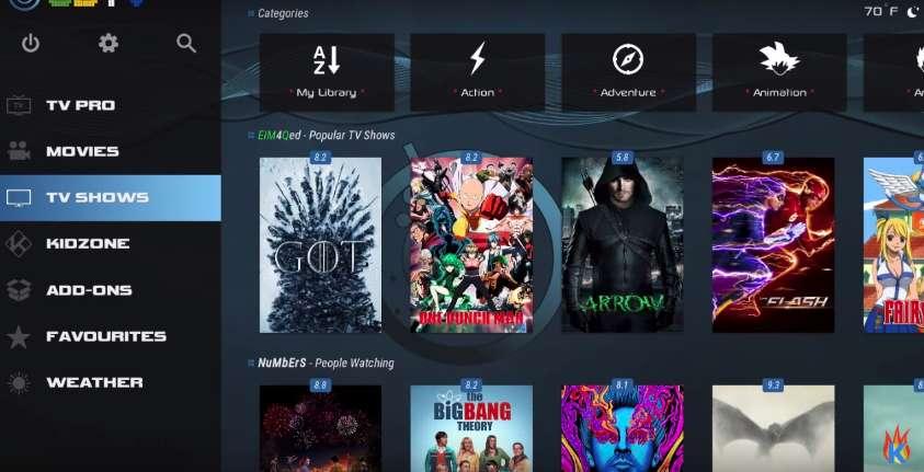 TV Shows in Kodi 18 CellarDoor Build