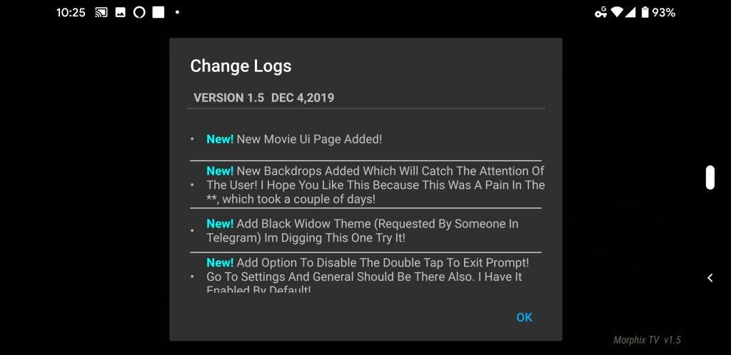 Morphix TV v1.5 Changelog