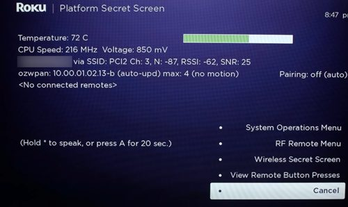 Roku Platform Secret Screen