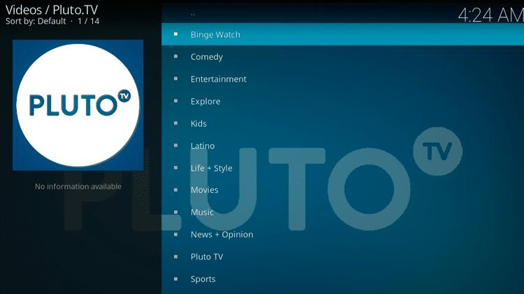Pluto TV Categories