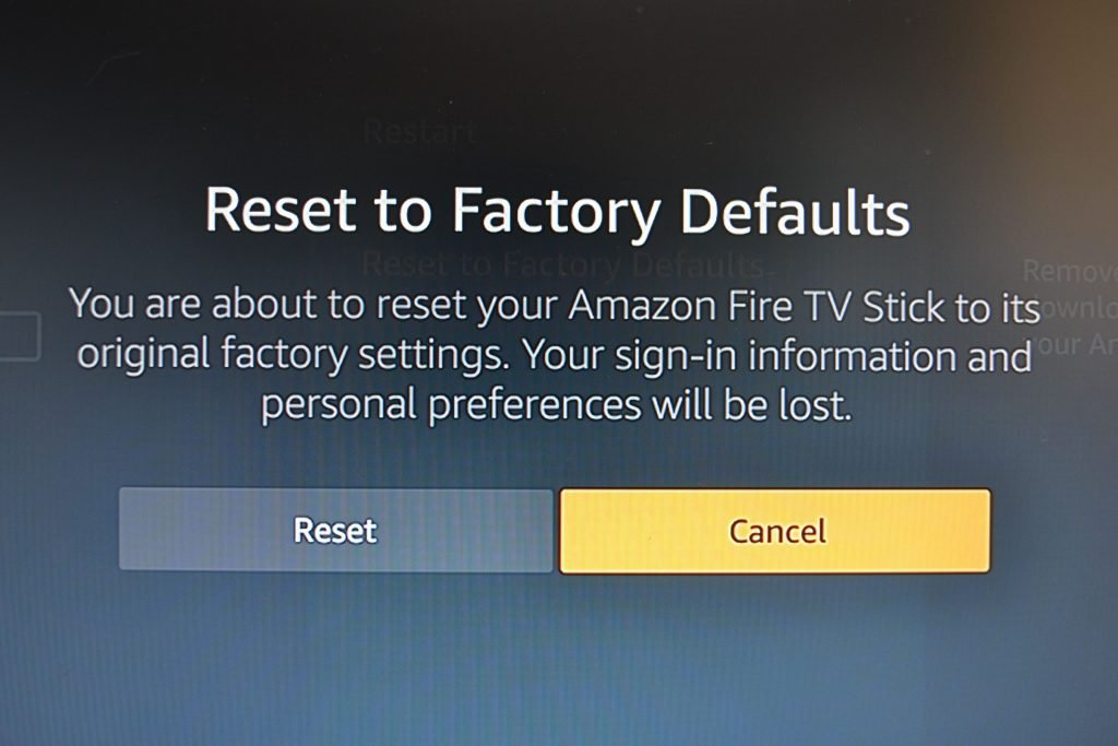 reset to factory default firestick