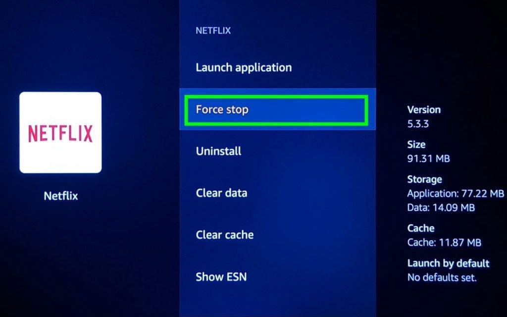 Force stop app firestick