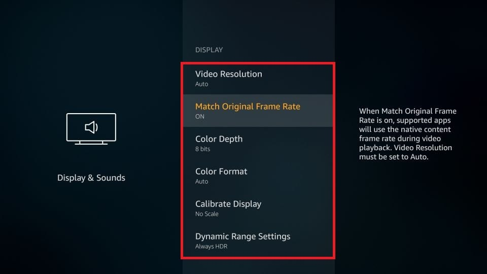 Display and sounds settings firestick