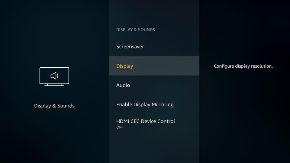 Display settings firestick
