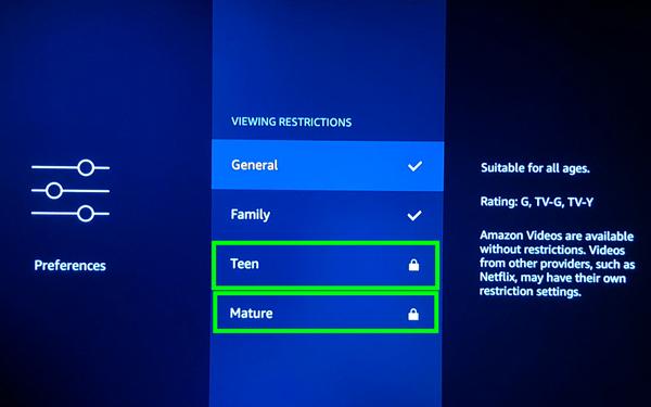 Firestick Viewing Restrictions