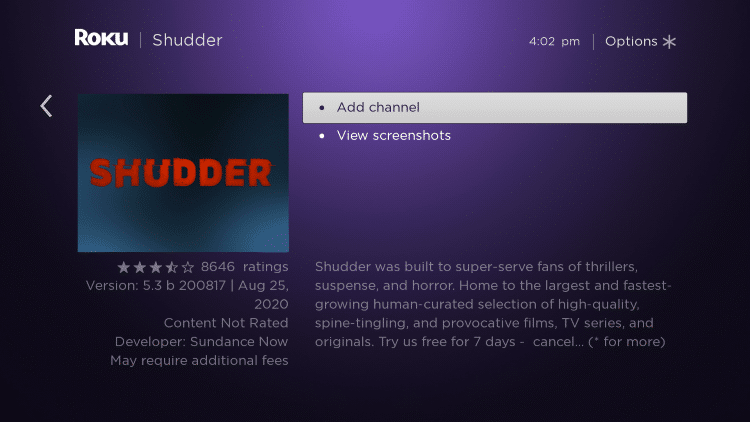 Shudder TV on Roku