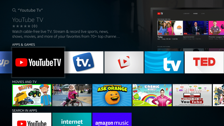 Install YouTube TV on Firestick